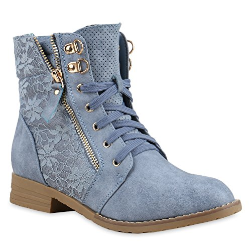 Flandell® Stylish Women's Worker Boots | Quilted Ankle Boots | Leather Look with Zip, Chain & Block Heel