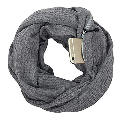 Caden sciarpa infinity da donna autunno inverno in maglia con tasca nascosta con cerniera, morbido cerchio leggero sciarpe ad anello per vacanze viaggio regalo