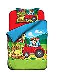 Aminata Kids Kinder-Bettwäsche 100-x-135 cm Bauernhof Bauer Tier-e Pferd-e Traktor Trecker Baby-Bettwäsche 100-% Baumwolle Renforce bunt rot-er grün hell-blau grün Junge-n und Mädchen