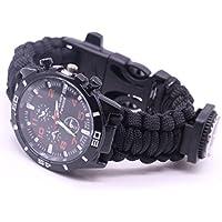 HCFKJ Outdoor Survival Watch Armband Paracord Kompass Flint Fire Starter Whistle (D)