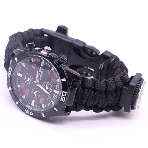 HCFKJ Outdoor Survival Watch Armband Paracord Kompass Flint Fire Starter Whistle (D) -