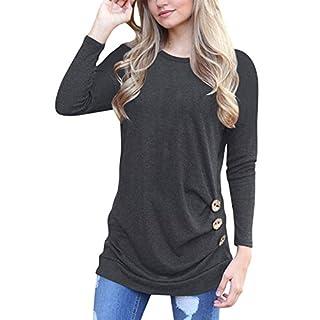 Langarm T-shirt Damen Rundhals Casual Oberteile,einfarbig,Baumwolle,mit Knöpfe,Schwarz,DE 50(Tag XXL)