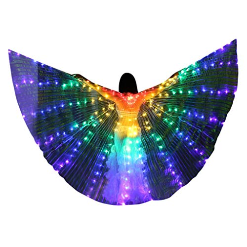 Chejarity Dance Fairy Bauchtänzerin Isis Flügel Halloween spaß LED Belly Dance Wings Erwachsenen Bühnen Performance Kostüme mit Teleskopstöcke Tanzen Requisiten (A(ohne Teleskopstöcke), Mehrfarbig) (Für Erwachsenen Dance Kostüm)