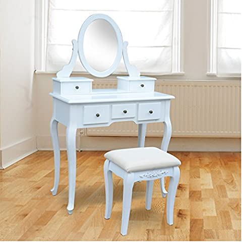 Tocador con Taburete y Espejo Mesa de Maquillaje con 5 Cajones Madera MDF Color Blanco