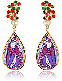Miranika Gold Plated Drop Earrings for Women (Multi-Colour)(C1D2BPS1)