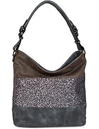 styleBREAKER edle 2-farbige Hobo Bag Handtasche mit Pailletten Streifen, Shopper, Schultertasche, Tasche, Damen 02012181