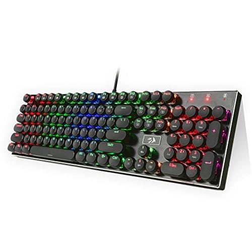 Redragon® K556-RK RGB Mechanische Gaming Tastatur QWERTY, Schlüssel Cap Puller für Gamer, 104 Tasten mit USB Kabel für PC Laptop