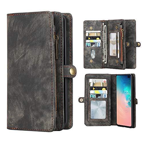 Eastcoo Kompatibel Samsung Galaxy S10+ Hülle Brieftasche Handyhülle Abnehmbar Multifunktional Leder Folio Flip Kartenfach Wallet Schutzhülle Tasche Case Cover Galaxy S10 Plus(Galaxy S10 Plus, schwarz) - Tasche Brieftasche
