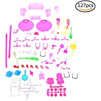 SuxiDi 127 PCS Doll Accessories Bags Necklace Combs Shoes Earings for Barbie Doll Kids Gift