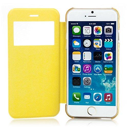 Saxonia Tasche Apple iPhone 6 6S Hülle Case Schutzhülle Flip View Cover mit Fenster Weiss Gelb