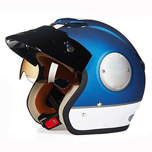 Elektromotorradhalbschalenhelm Männer Und Frauen Mode Jahreszeiten Personalisierte Retro Reithelm,SapphireBlue-XXL