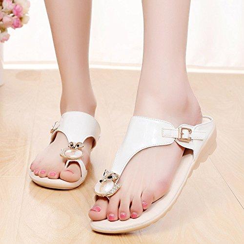 Donne sandali Sandali in primavera estate con comodità PU vestito casual flip-flop (bianco / blu / rosa) Confortevole ( Colore : Rosa , dimensioni : EU36/UK4/CN36 ) Bianca