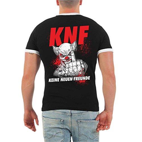 Männer und Herren T-Shirt FUCK FAKE FRIENDS (mit Rückendruck) Schwarz/Weiß