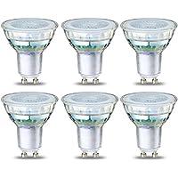 AmazonBasics LED GU10 Spotlight Bulb, 4.6W (Equivalent to 50W), Glass - Pack of 6