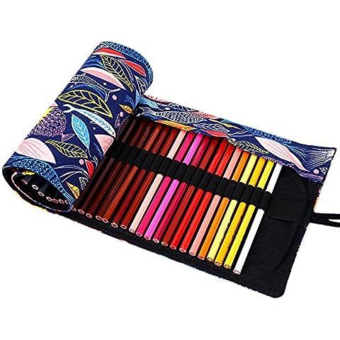 JLTPH 48-colore tela matita , Pure tessuto a mano Colored Pencils Case roll up per Ufficio Scolastico Art