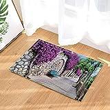 fuhuaxi Wanderlust dekorative Holzbank an der Wand voller Blumen Rutschfeste Fußmatte Badmatte 40X60CM