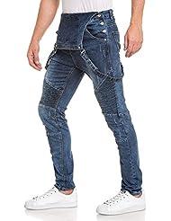 BLZ jeans - Salopette homme tendance bleu délavé usé nervuré