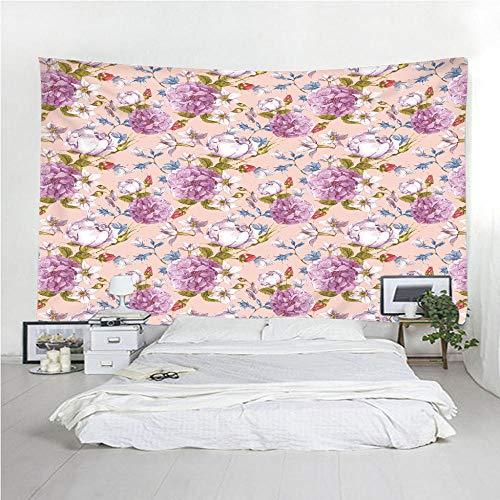 Tapisseries Literie Hippie Bohème en Coton Indien Motif Floral Violet Tapis De Yoga pour Méditation Boho Meditation150X130CM