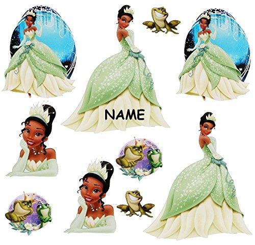 alles-meine.de GmbH 10 TLG. Set _ Wandtattoo / Sticker -  Disney Küss den Frosch / Prinzessin Tiana  - incl. Name - Wandsticker - Aufkleber für Kinderzimmer - selbstklebend + w..