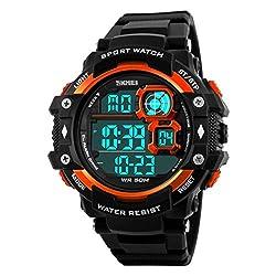 Skmei Special Digital Display Sports watch 3ATM waterproof Stainless Steel Back -1118 Org