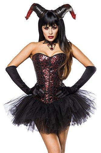 Damen Pailletten Fantasy Kostüm Teufel Verkleidung aus Corsage, Kette, Widderhörner und Tutu Rock in schwarz rot Handschuhe Wetlook S