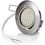 sweet led® Flaches Design LED Einbaustrahler Flach - 320 Lumen - 3.5W - 230V - Edelstahl Optik - Rund - Eckig - Schwenkbar Einbauspots Einbauleuchten Einbau led (Rund - Warmweiß)