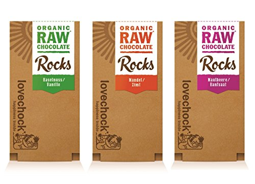 Preisvergleich Produktbild LOVECHOCK Rocks Set 3 Sorten (3x 80 g) Mandel & Zimt,  Maulbeere & Hanfsaat,  Haselnuss & Vanille (roh,  bio,  vegan) Rohschokolade 3er
