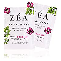 ZEA Makeup Remover Wipes | Infused with Rose Hip Essential Oil | Alcohol-Free & Paraben-Free | New & Improved | 50 Individually Wrapped Wipes