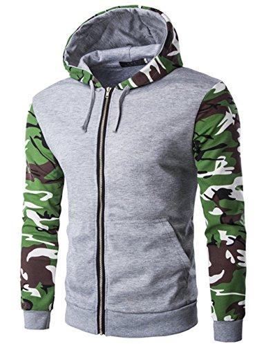 yffushi Felpa da uomo con cappuccio felpa con cappuccio produzione di mimetizzazione 3colori a scelta grigio M