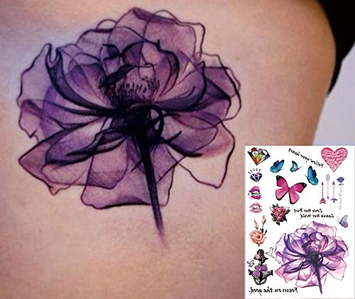 Wasserfarben Aquarelle lila pink Blumen Tattoos Flash Tattoos Aufkleber 33