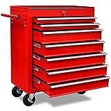 Chariot à outils de l'atelier rouge avec 7 tiroirs 690 x 330 x 772 mm