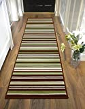 """LONG MODERN TRADITIONAL STRIPED SHAGGY HALLWAY HALL RUNNER RUG IN MULTI COLOURS (60 x 220 cm (2' x 7'4""""), Striped Green)"""