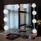 ToWinle 10Stk Spiegellampe Hollywood Spiegel Beleuchtung mit 5 Verschiedenen Helligkeiten 6000K Weiß Schminklicht mit USB-Netzteil Make Up Licht für Spiegel im Badezimmer, Schminktisch, Schlafzimmer