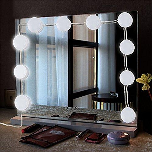 ToWinle 10Stk Spiegellampe Hollywood Spiegel Beleuchtung mit 5 Verschiedenen Helligkeiten 6000K Weiß Schminklicht mit USB-Netzteil...