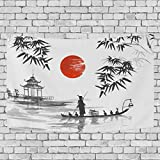 JSTEL Japanisches Gemälde Mann mit Boot Wandbehang Dekoration für Wohnzimmer, Wohnzimmer, Tisch, Überwurf, Tagesdecke, Wohnheim, 100 x 150 cm, Multi, 150 x 200 cm