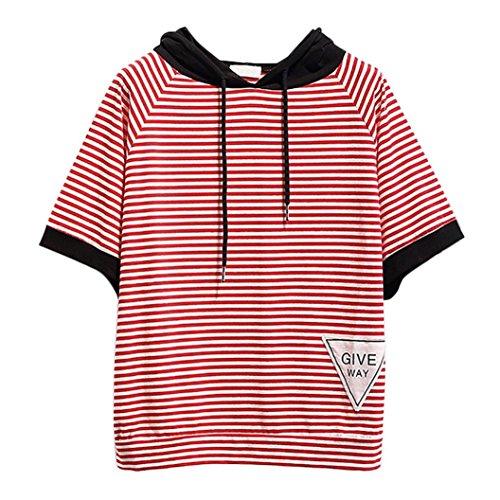 feiXIANG mode frauen Damen gestreiften patchwork pullover lässig bluse kurzarm t - shirt Kurzärmliges Hemd mit Streifennähten bluse (S, Rot) (Anzug 3-tasten-weißen)