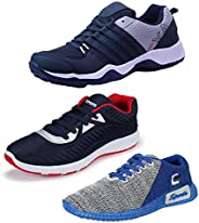 Bersache Men's Multicolor Combo Pack of 3 and Elegant Casual Wear Canvas Running Shoes (Size
