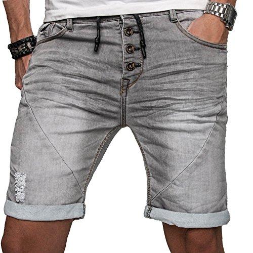 Sublevel Herren Jogg Jeans Shorts Kurze Hose Bermuda Sommer Short Sweathose Slim [B112 - Grau mit Knopfleiste - W29]