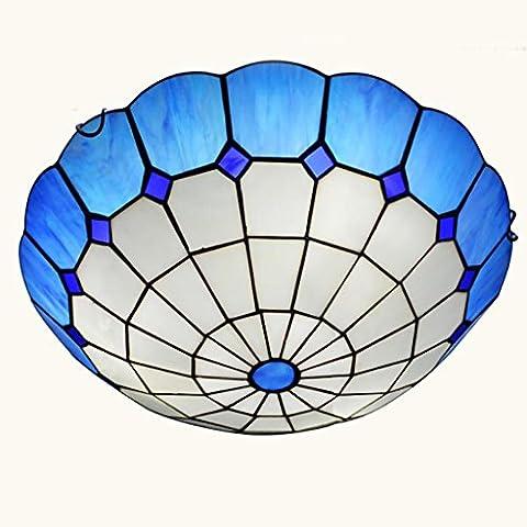 MJCOO Lampada per bambini da letto balcone sala da pranzo arte vetrate soffitto circolare