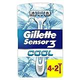 Gillette Sensor 3 Cool Maquinilla Desechable con 3 Hojas - 6 Unidades
