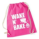 HippoWarehouse Wake N Bake Drawstring Cotton School Gym Kid Bag Sack 37cm x 46cm, 12 litres