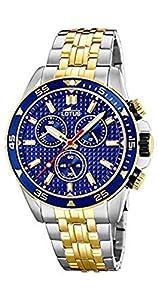 Lotus - Reloj Cronógrafo para Hombre, de Cuarzo con Correa en Acero Inoxidable