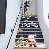 LIZHIOO Treppenaufkleber Weihnachten Verkleiden Sich Treppen Weihnachtsmann Weihnachtsbaum Treppen Dekorative Wandaufkleber (100cm*18cm) 13pcs
