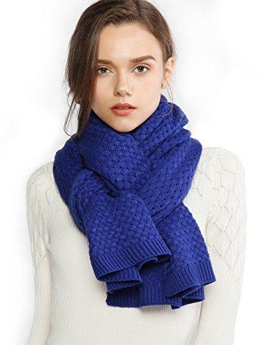 RIIQIICHY Chunky Knit Schals für Frauen Dicke Kabelschals Wrap Winter Weiche Warme Lange Große Blaue Einfarbig Pashmina Stola -