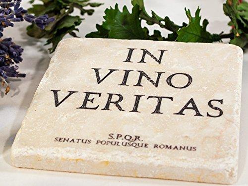 Braun Marmor-glas (Glas-Untersetzer In vino veritas, Getränke-Untersetzer für Tassen, Tisch, Bar, Glas, Gläser - Marmor 10x10cm)