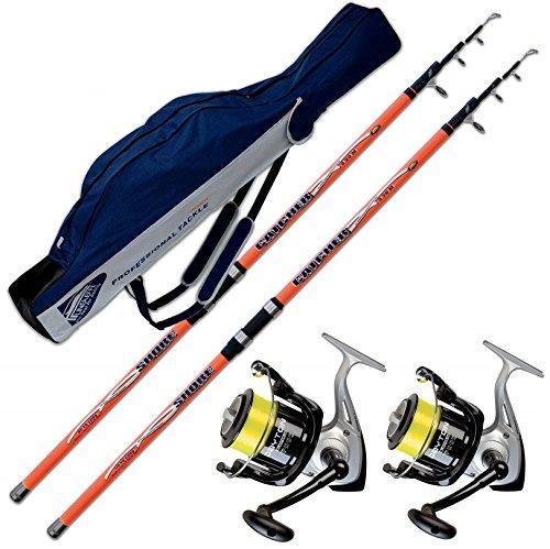 Evo fishing kit surfcasating 2 canne catcher 420 cm 200 gr + 2 mulinelli trabucco dayton 6500 + fodero portacanne