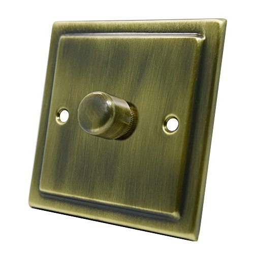 aet vab1gdim40400W 10A 1Gang 2Way Victoriano Antiguo Latón Interruptor regulador de Intensidad...