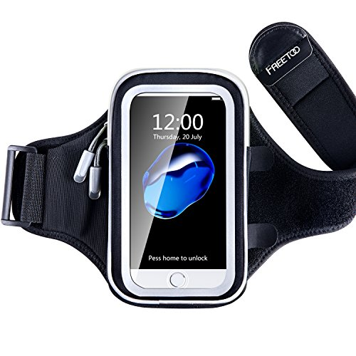 [Armtasche] FREEOO Sport Armband mit sensibelem Touchscreen Wasser-und Schweißabweisende Smartphone Armtasche mit 3 Kopfhörerauslassen Handys unter 4,7Zoll mit Hülle wie Iphone 7s/7/6s/6/5s/5 Accessoire für Joggen Radsport Wandern und Fitness