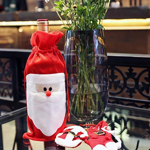 SPFAZJ Weihnachten Dekorationen Santa Flasche Rotwein Set Krawatte rot weinbeutel Geschenk Tasche Champagner rot Weinset