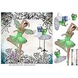 Hada bailarina de flores con bordes Vintage fondo por Christine Crowther